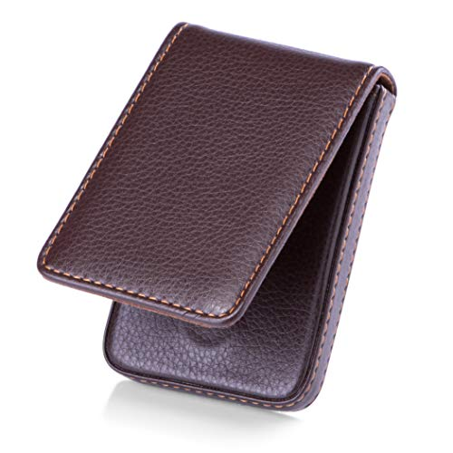 Card Case Leather Business Holder (MaxGear Business Card Holder Premium PU Leather Business Card Case Wallet Men's/Women's Pocket Business Name Card Holder with Magnetic Shut for Credit Cards/ID Card/Gift Cards - Coffee)