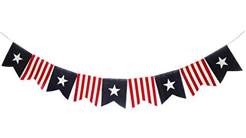 July 4th Burlap Banner Seasons Treasure 6ft Handmade Patriotic Burlap Banner Garland American Flag Burlap Banner (Squares Style) ()