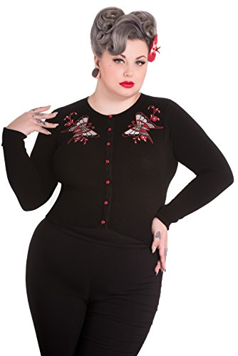 Hell Bunny Plus Size Gothic Rockabilly Black Scarlett Butterfly Cardigan (2X)
