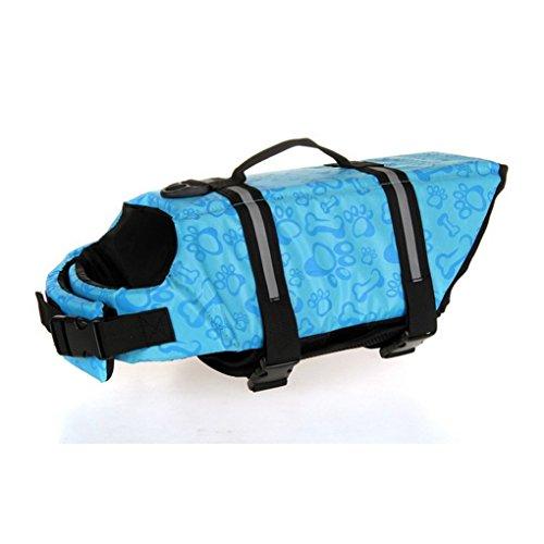 Doggy Reflective Safety Coat Swimming Pet Life Jacket Boating Floatation Vest Saver Preserver Wide Range Size,Bone Pattern (M, Blue)