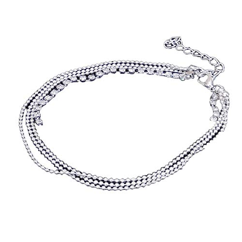 ulti Layer Silver Crystal Ball Bracelet Anklets Foot Chain Summer Jewelry(Sliver) ()