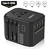 MIBOTE Universal Travel Adapter International Power Adapter Wall Charger Plug with 4 USB Ports Type-C for USA/Europe/UK/AU/Asia