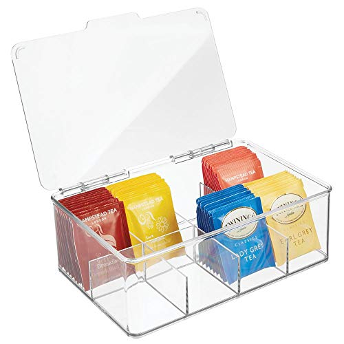 mDesign Compact Plastic Tea Storage Organizer Caddy Tote Bin - 8 Sections, Built-in Handles, with Lid - Holder for Tea Bags, Packets, Sweeteners and Small Packets, BPA free - ()