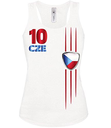 Copa del Mundo de fútbol - Campeonato de Europa de Fútbol - TSCHECHISCHE REPUBLIK mujer camiseta Tamaño S to XXL varios colores S-XL Blanco