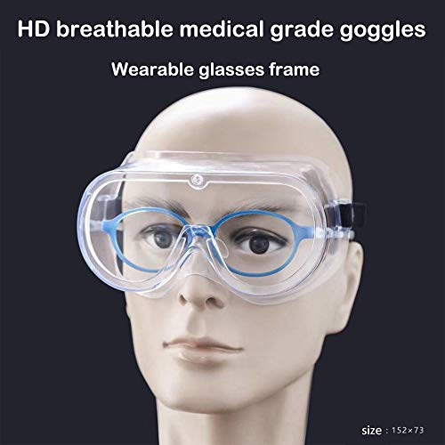 1 Pack Protective Safety Goggle DIY Wraparound Eye Sealed Goggle Glasses Clear Body Anti-Fog Coating Clear Lens Black Adjustable Strap Soft no vent