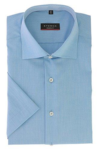 ETERNA Herren Kurzarm Hemd aus 100% Baumwolle Modern Fit mit Kent Kragen leicht tailliert geschnitten Gr. 46 Blau