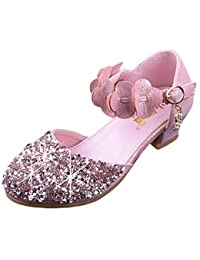 Glitter Kids Girls Mary Jane Shoes Low Heel Bridesmaids...