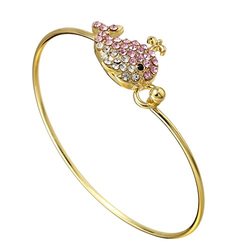 Hook Buckle Bracelet (PANGRUI Cute Crystal Happy Little Whale Bangle Bracelets Buckle Hook Nautical Beach Bangle (gold))