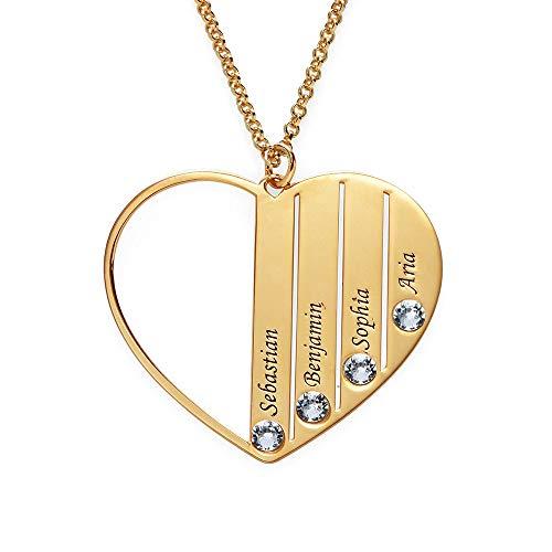 Personalized Mom Heart Necklace -Custom Jewelry Made with Swarovski Crystals