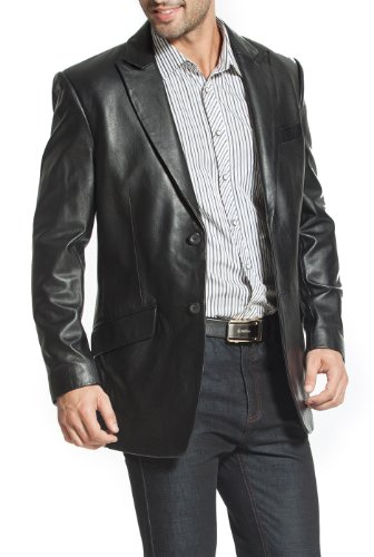 BGSD Men's Ben Two-Button Lambskin Leather Blazer - XLT by BGSD