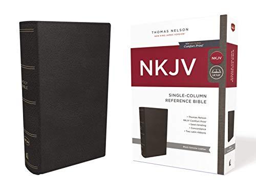 - NKJV, Single-Column Reference Bible, Genuine Leather, Black, Comfort Print: Holy Bible, New King James Version