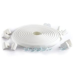 23.2ft Long Set-16 Corner Guards. SafeBaby & Child Safety baby proofing edge with clear protective bumpers for furniture. Cushion foam strip brick pad childproof fireplace guard for toddlers.Off-white