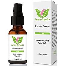 Amara Organics Retinol Serum 2.5% with Hyaluronic Acid & Vitamin E, 1 fl. oz.