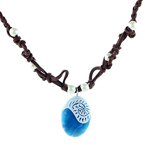 (Magical Seashell Blue Pendant, Faux Leather and Resin Necklace.Heart of Te Feti Necklace.Birthday Cosplay Party Supplies.)