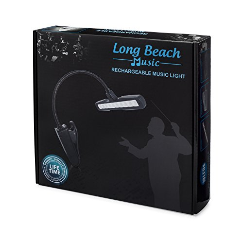 Rechargeable Clip-on Music Stand Orchestra Light- 10 Bright LEDs Last for 50 Hours on a Single Charge- Includes USB Cord, Wall Plug, and Carrying Bag- Also for Reading, DJs, Crafting by Long Beach Music (Image #6)