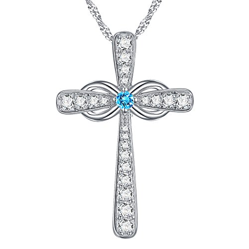 Love Infinity God Cross Jewelry Gifts for Women Fine Created Aquamarine Necklace Birthday Gifts for Wife Her for Grandma Girlfriend Fiancee Anniversary Gifts for Her Present Sterling Silver