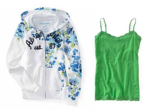 Aeropostale Womens; Juniors Bleach; White (425) Fun and Floral Full Zip Hoodie Coordinated with Aero's Intense Dk Lime (425) Solid Lace Cami; Camisole, Size Small (S)