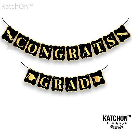 Congrats Grad Banner, Black and Gold - no DIY Required, USA, Graduations Party Supplies 2019 | Classy and Luxurious Banner for Graduation Banner for Graduation Decoration