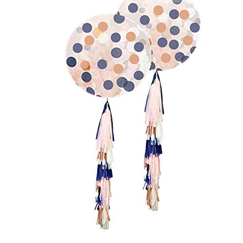 Fonder Mols 36inch Navy and Rose Gold Confetti Balloons Decorations Kit with Tassel Garland Tails for New Years Eve Party Supplies, Festival Party Decorations, Graduation Events, Anniversary, Wedding