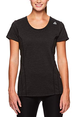 Top Sleeve Short Training (Reebok Women's Dynamic Fitted Performance Short Sleeve T-Shirt - Black Heather, Small)