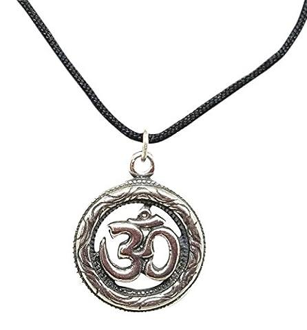 Om Pendant Necklace For Men On Long Black Adjustable Cord