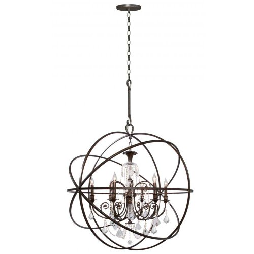 - Crystorama 9219-EB-CL-MWP Crystal Accents Six Light Chandeliers from Solaris collection in Bronze/Darkfinish,