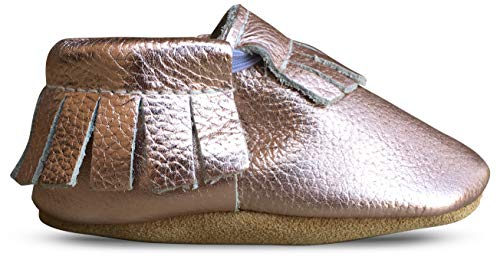 Lucky Love Soft Sole Baby Shoes Girl 6-12 Months Leather Moccasins Rose Gold (Gold Footwear Soft Leather)