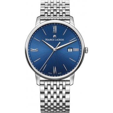 Maurice Lacroix Men's 'Eliros' Swiss Quartz Stainless Steel Casual Watch, Color:Silver-Toned (Model: EL1118-SS002-410-2)