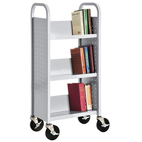 - Sandusky Lee SL33017-05 3 Single Sided Sloped-Shelf Book Truck, 18