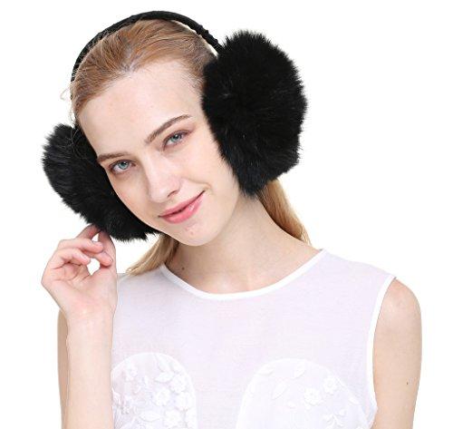 Vogueearth Women 2 Material Choose Winter Fur Earmuffs Fox Piece Black