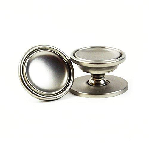 25 Pack: Large Cabinet Hardware Knob in Satin Nickel with Backplate