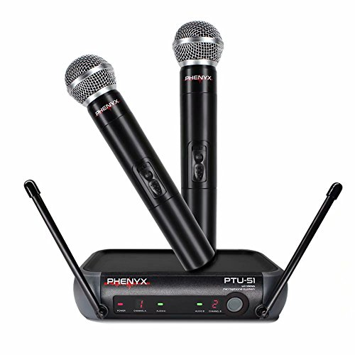 Phenyx Pro Dual UHF Handheld Wireless Microphone System, Portable Size, Fixed Frequency, Interference-free, Ideal for Church, Karaoke, Parties, Events (PTU-51) - Pro Handheld Mic