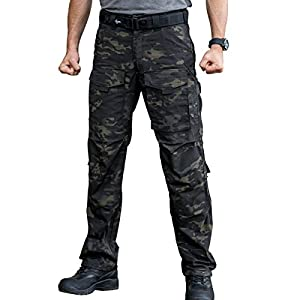 FREE SOLDIER Men's Tactical Pants Multi-Pocket Breathable Climbing Hiking Hunting Pants