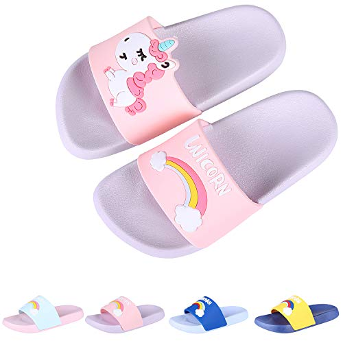 Boys Girls Slide Sandals Kids Outdoor Beach Pool Sandal Soft Unicorn Bath Slippers (Toddler/Little Kid) Purple 22 -