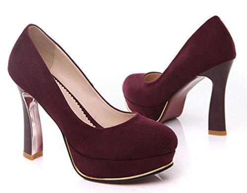 YCMDM nuova scarpe col tacco alto temperamento modo delle donne di scarpe da sera essenziali di autunno della molla vino Moda Rosso Blu Nero 34 35 36 37 38 39 , wine red , 39