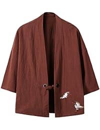 Mens Cotton Blends Linen Open Front Cardigan Kimono Jackets