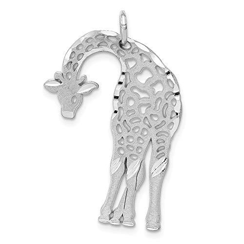14k White Gold Solid Satin Diamond-cut Flat-Backed Giraffe Charm ()