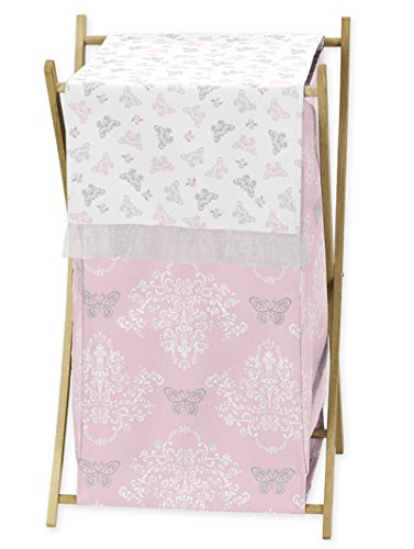 Sweet Jojo Designs Baby/Kids Clothes Laundry Hamper for Pink Gray and White Shabby Chic Alexa Damask Butterfly Girls Bedding