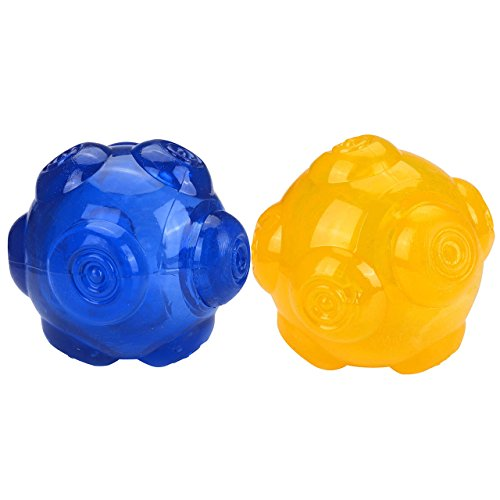 Mogoko Tough Rubber Squeak Chew Toy Ball for Dogs,Puppy Bite Resistant Squeeze Interactive Traning Toy Ball for Tooth Cleaning, Tennis Size, 3.5 Inch (2 Pcs; Blue and (3.5in Dog Toy)
