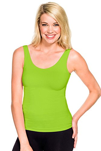 Skinny Tees Women's Basic Wide Strap Cami, Lime Green, One Size