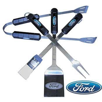 Brickels Racing Collectibles Ford Tailgater 4 Piece Bar-B-Que Grilling Set in Clamshell Packaging By MotorHead Products -MH-1083