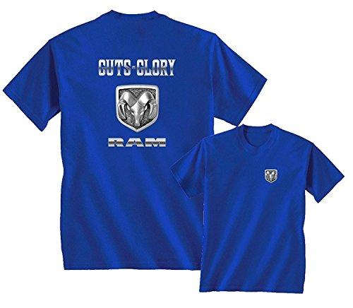 Guts Glory RAM Logo Dodge Emblem T-Shirt Front & Back, Royal Blue, M