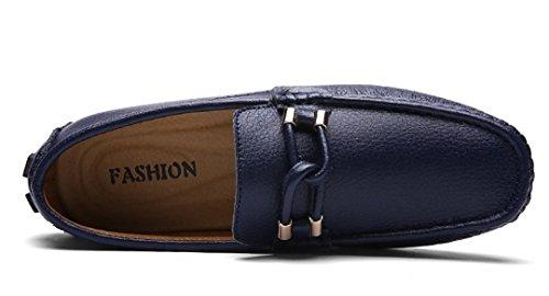 Tda Heren Klassieke Comfortabele Knoop Slip Op Leer Rijden Business Loafers Bootschoenen Blauw