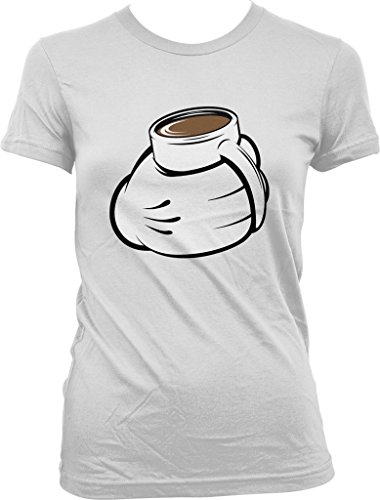 Cartoon Hand with Coffee Mug, Love My Coffee Juniors T-shirt, NOFO Clothing Co. XL White (Senseo White Coffee Maker compare prices)