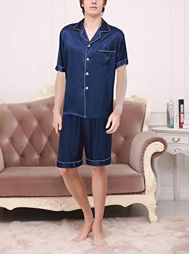 Da Estivo Uomo Loungewear Piece Two Momme Home Pigiama Negligee Blau Bagno Qk lannister Confortevole Sleepwear Set Leggero gwHExqxA