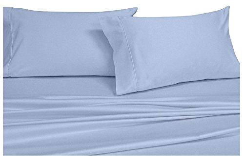 Split-King: Adjustable King Bed Sheets 5PC Solid Blue 100% Cotton 600-Thread-Count, Deep Pocket