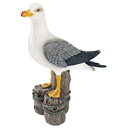 Design Toscano QL56461 Dockside Seagull Coastal Decor Garden Statue, 17 Inch, Full Color