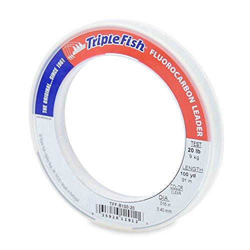 Triple Fish Fluorocarbon - Triple Fish 20 lb Test Fluorocarbon Leader Fishing Line, Clear, 0.40 mm/100 yd