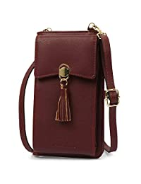 25888df22 Women Rfid Blocking Credit Card Wallet Purse Cell Phone Crossbody Small Bag  (Wine Red)