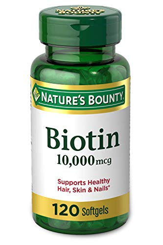 Biotin by Nature's Bounty, Vitamin Supplement, Supports Metabolism for Energy and Healthy Hair, Skin, and Nails, 10000…